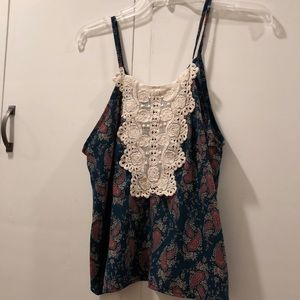 Floral with lace bib top